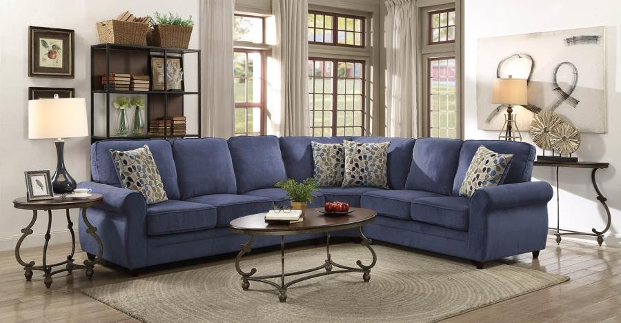 Kendrick Transitional Blue Sectional | 501545 | Sectional Sofas ...