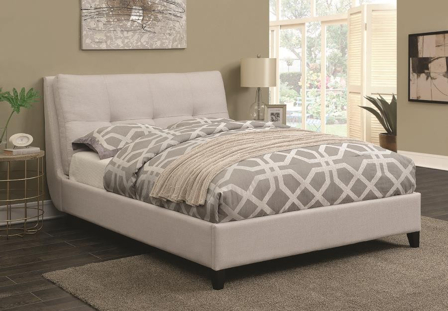 Amador Upholstered Bed Amador Beige Upholstered Queen Platform Bed 300698q Complete Beds Unique Home Furniture