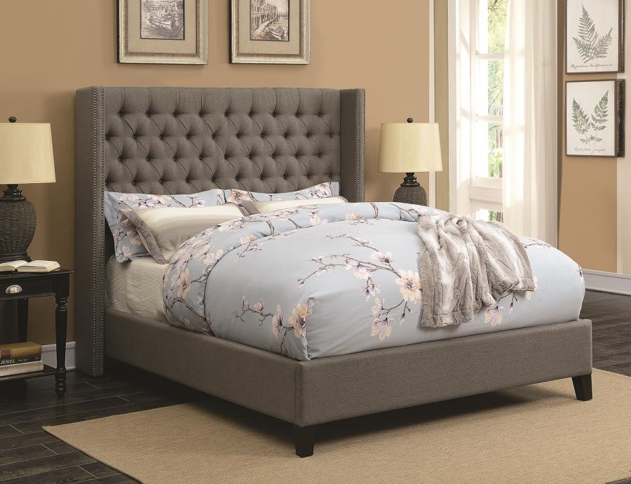 BENICIA UPHOLSTERED BED -  Benicia Grey Upholstered Queen Bed