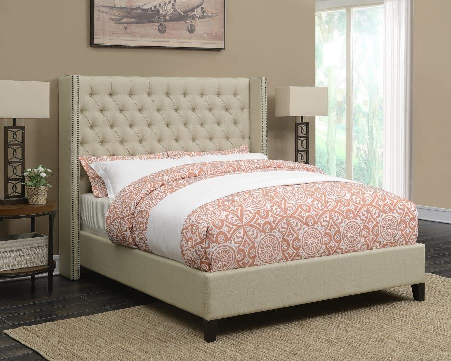 Benicia Beige Upholstered Queen Bed
