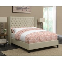BENICIA UPHOLSTERED BED -  Benicia Beige Upholstered Queen Bed