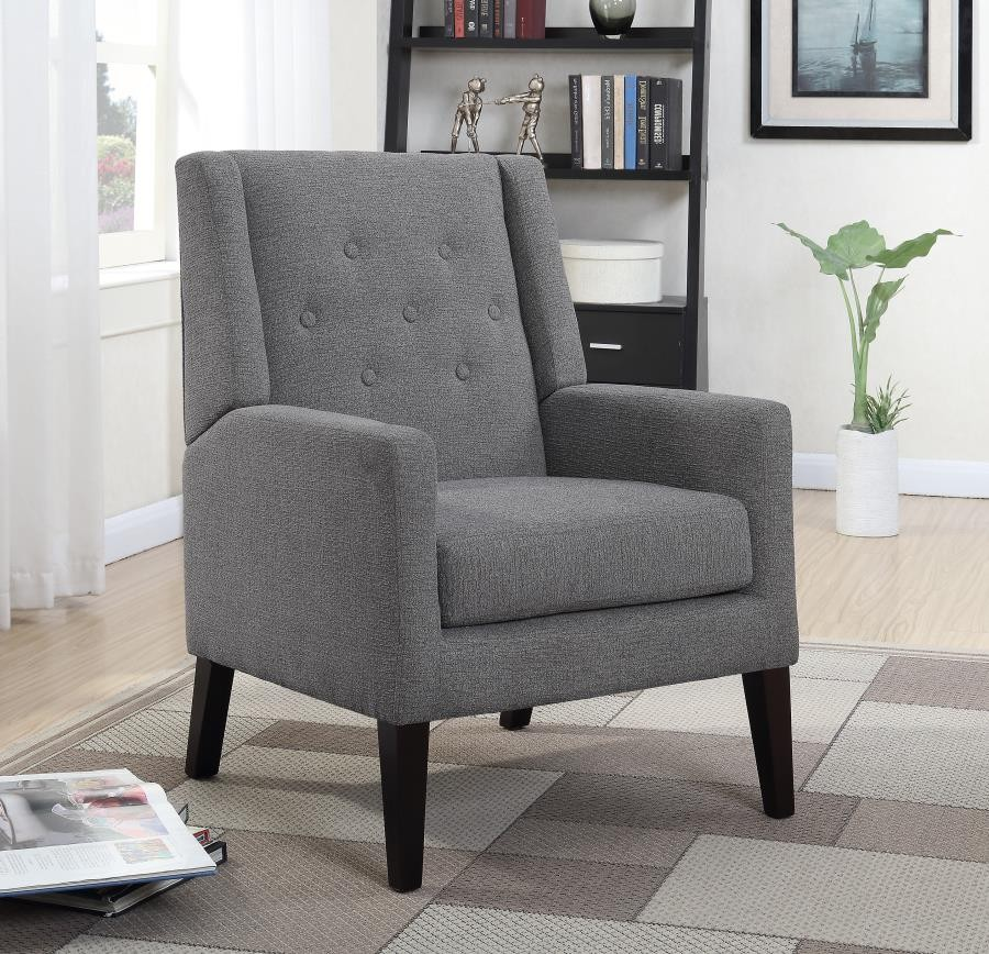 Scott living transitional demi wing grey accent chair 903379 living room chairs price for Occasional chairs for living room
