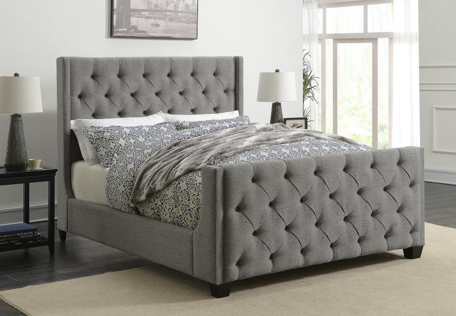 PALMA UPHOLSTERED BED - Palma Light Grey Upholstered Full Bed