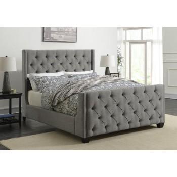 PALMA UPHOLSTERED BED - Palma Light Grey Upholstered King Bed