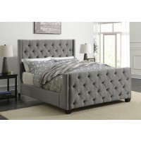 PALMA UPHOLSTERED BED - Palma Light Grey Upholstered King Bed
