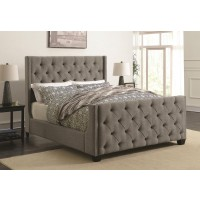 PALMA UPHOLSTERED BED - Palma Light Grey Upholstered Queen Bed