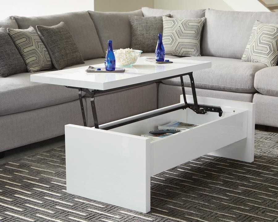 Contemporary White Lift Top Coffee Table 721248 Cocktail Tables Lily S Funiture And Mattress