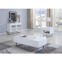 Contemporary Glossy White End Table