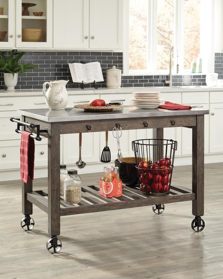 Scott Living Davenport Rustic Industrial Kitchen Cart With Wheels