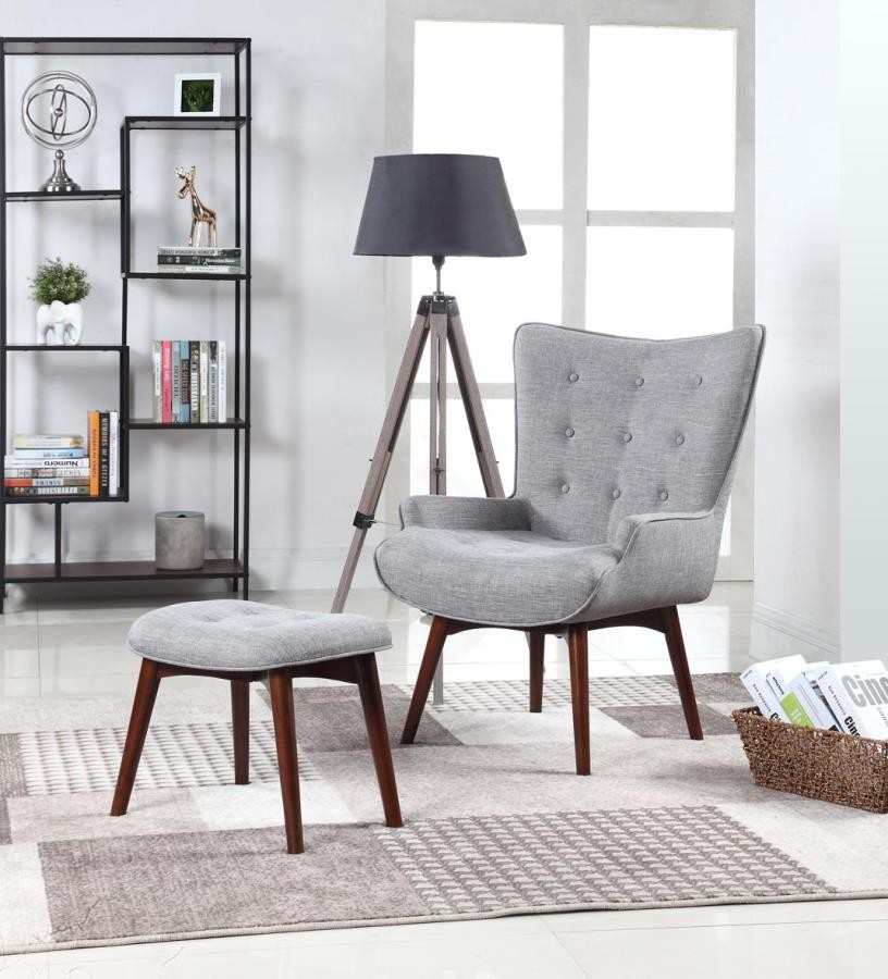 Phenomenal Mid Century Modern Grey Accent Chair And Ottoman 903820 Caraccident5 Cool Chair Designs And Ideas Caraccident5Info