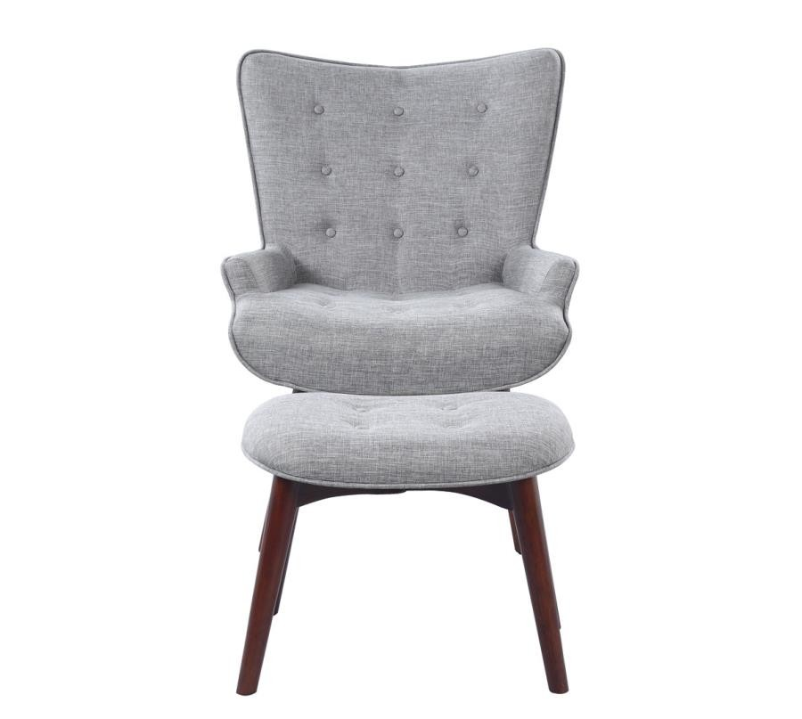 Mid Century Modern Grey Accent Chair And Ottoman 903820