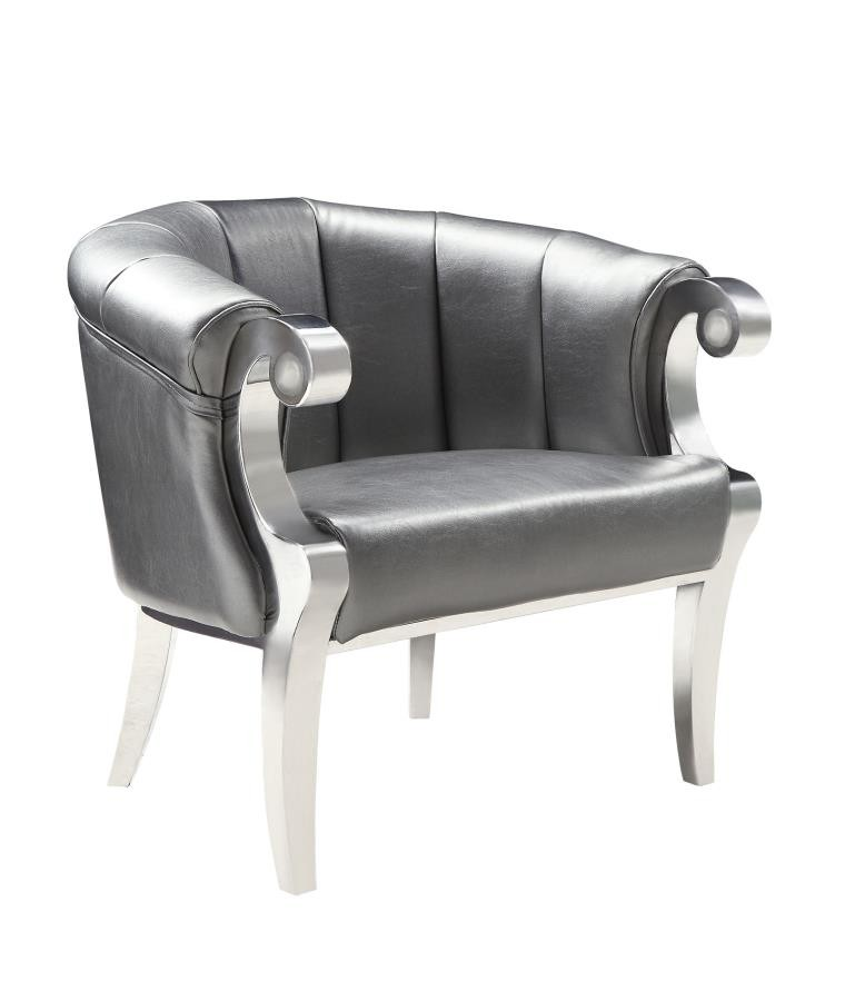 Remarkable Glamorous Silver And Chrome Accent Chair Ibusinesslaw Wood Chair Design Ideas Ibusinesslaworg