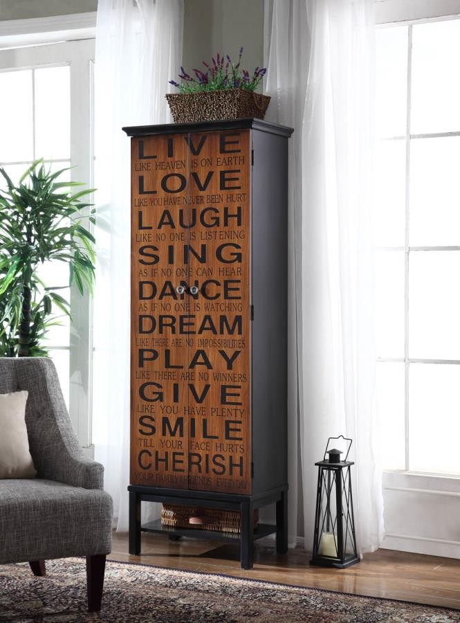 Transitional Rich Brown And Black Accent Cabinet 950731