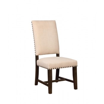 TWAIN -  Contemporary Beige Upholstered Parson Chair  (Pack of 2)