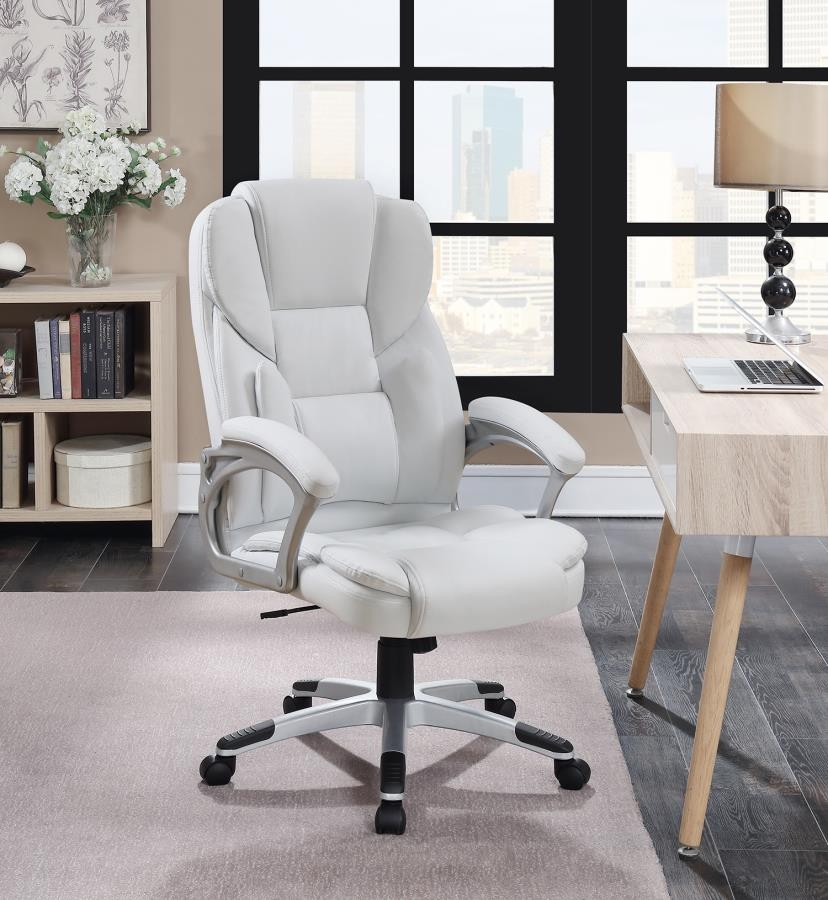 Home Office Chairs Casual White Faux Leather Office
