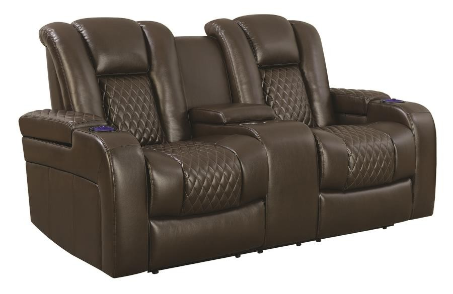 DELANGELO MOTION COLLECTION - Delangelo Brown Power Motion Reclining Loveseat