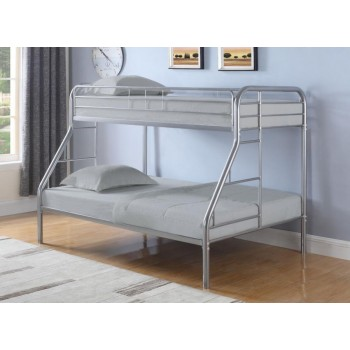 MORGAN BUNK BED - Morgan  Silver Twin Full Bunk Bed