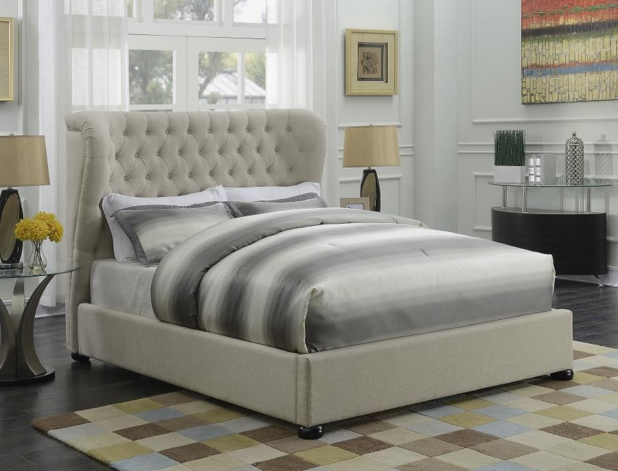 product bedroom beds eastern mattress upholstered complete king bed chloe