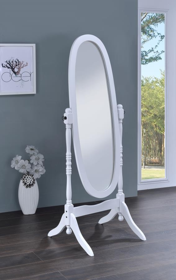 Transitional White Cheval Mirror 950802 Cheval Mirrors