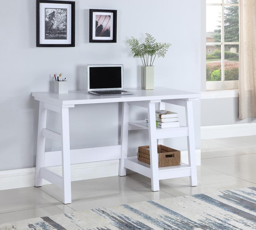 HOME OFFICE : DESKS   Transitional White Writing Desk