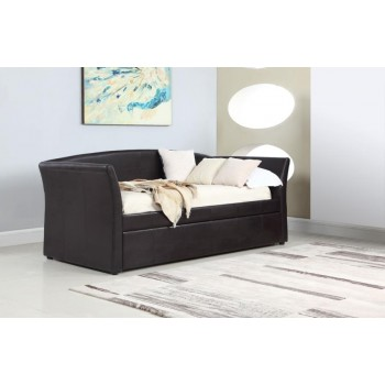 TWIN DAYBED WITH TRUNDLE - Transitional Dark Brown Upholstered Daybed
