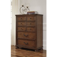 Lazzene - Medium Brown - Five Drawer Chest