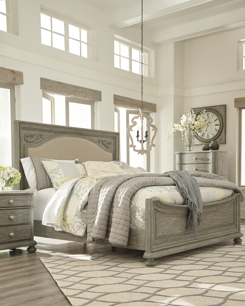 Marleny - Gray/Whitewash - Queen UPH Panel Headboard