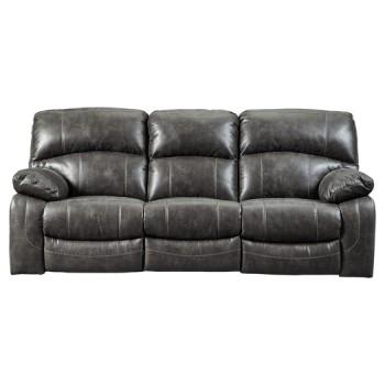 Dunwell - Steel - PWR REC Sofa with ADJ Headrest