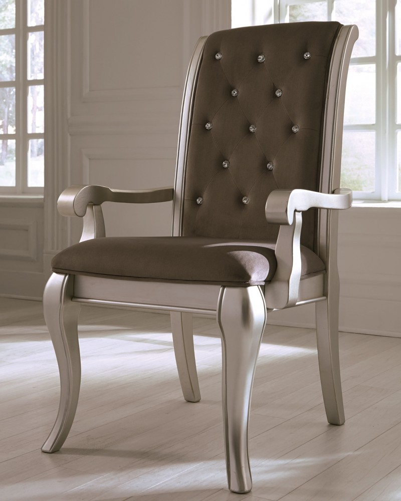 Birlanny - Silver - Dining UPH Arm Chair (2/CN)