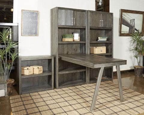Raventown - Grayish Brown - Bookcase Desk Return