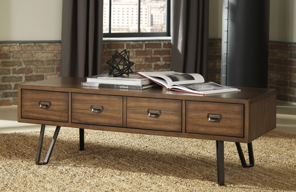 Centair - Warm Brown - Rectangular Cocktail Table