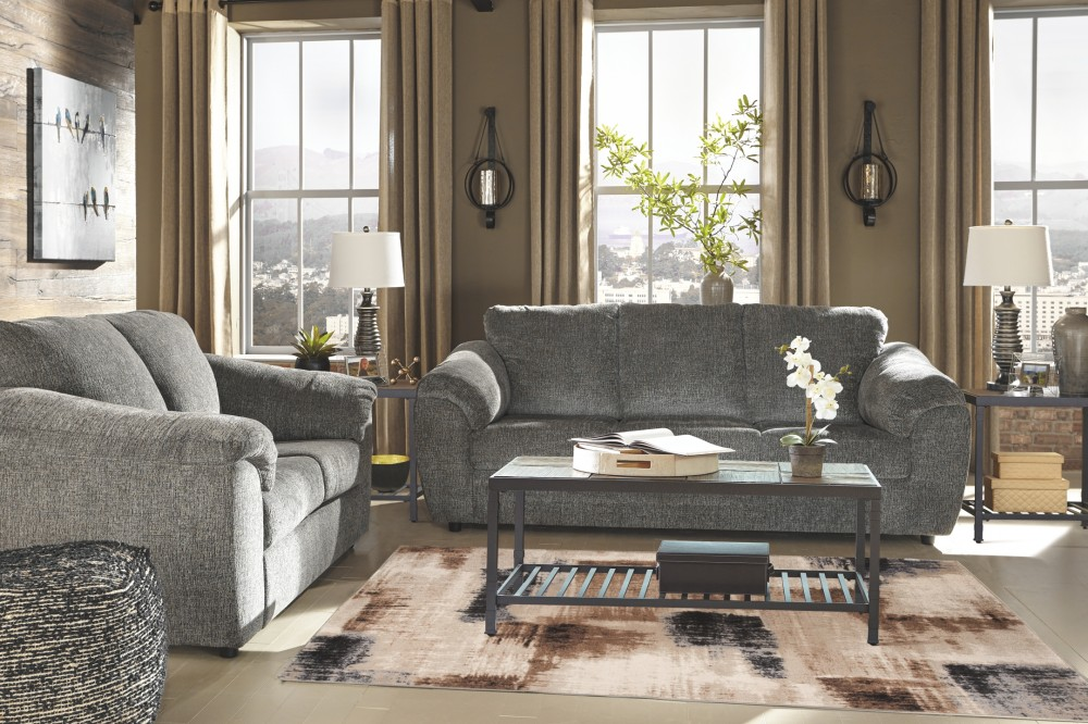 Azaline slate sofa sofas pruitt 39 s fine furniture for Pruitts bedroom sets