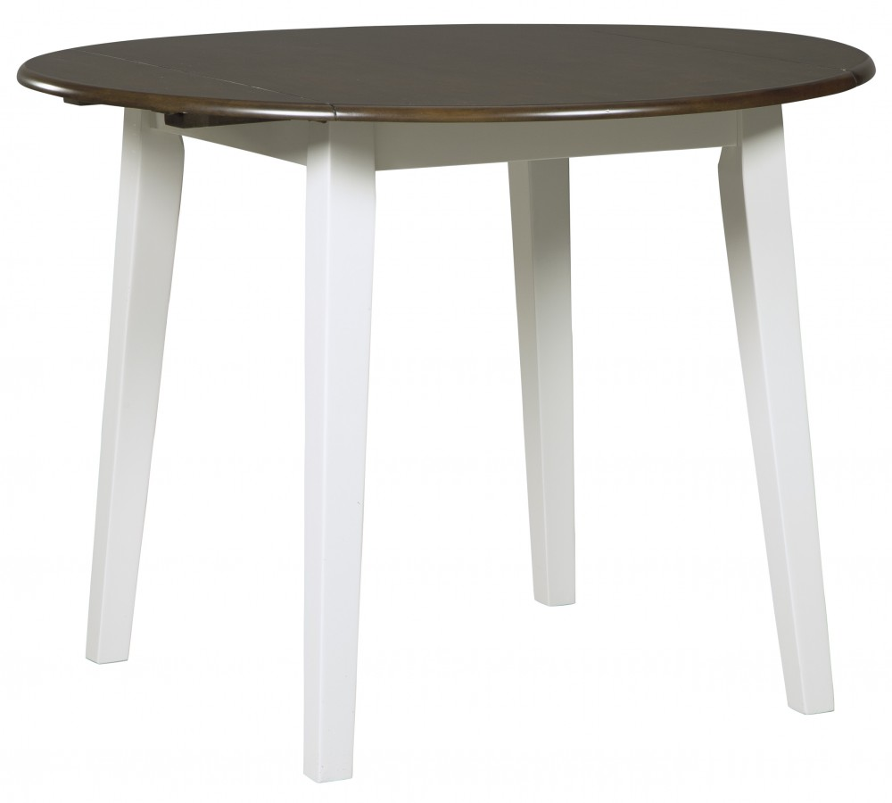 Woodanville White Brown Round Drm Drop Leaf Table
