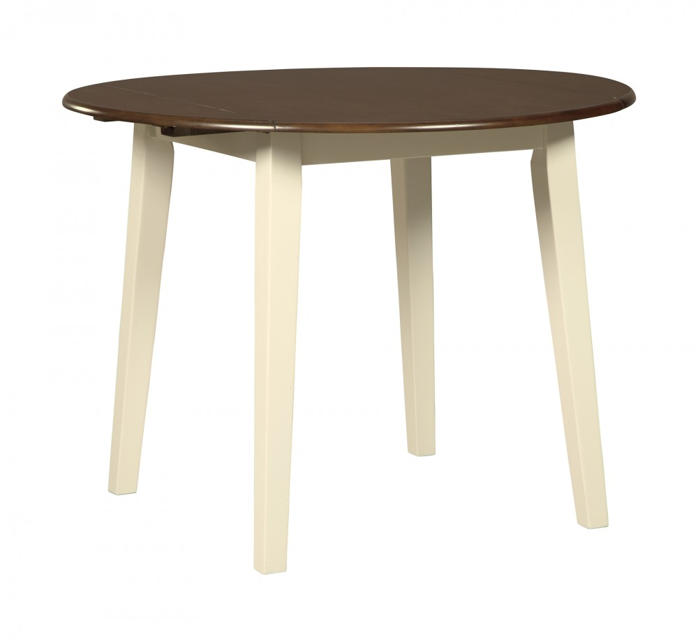Woodanville - White/Brown - Round DRM Drop Leaf Table