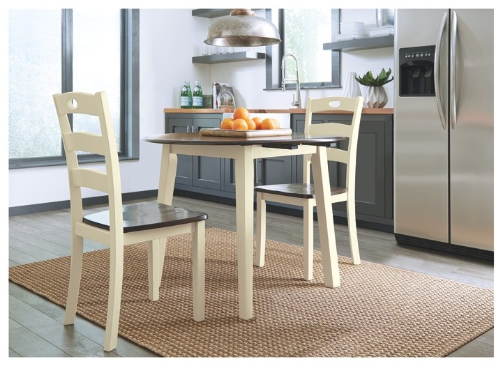 Woodanville White Brown Round Drm Drop Leaf Table D335 15