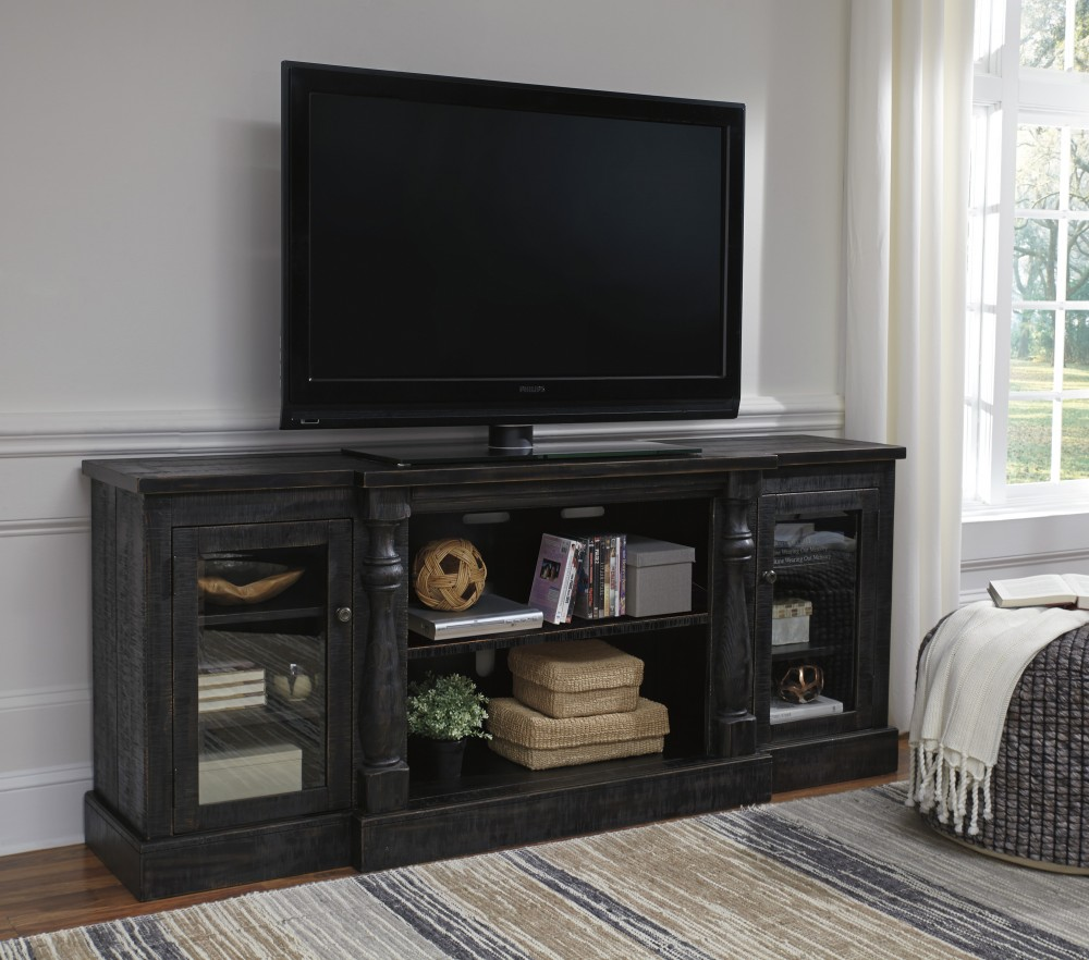 Mallacar   Black   XL TV Stand W/Fireplace Option
