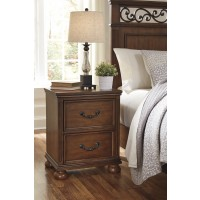 Lazzene - Medium Brown - Two Drawer Night Stand
