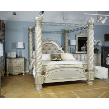 Cassimore - Pearl Silver - King/Cal King Poster Canopy