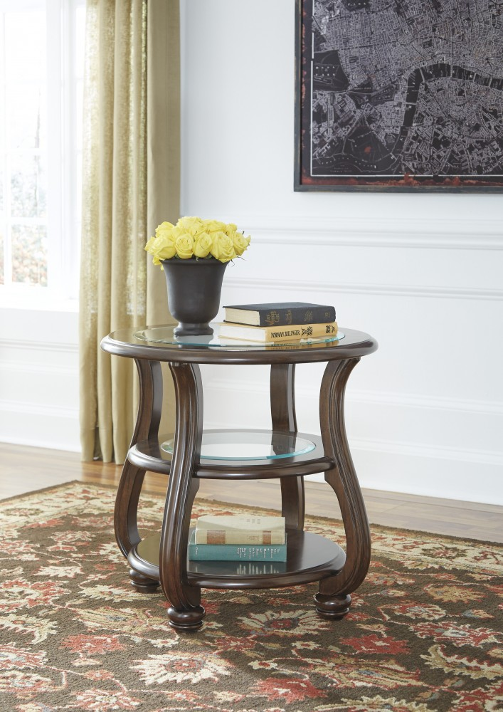 Yexenburg Dark Brown Round End Table T819 6 End Tables