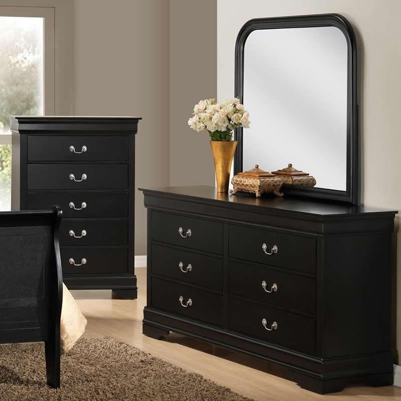 Louis Philip 6 Drawer Dresser - Black