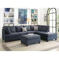 Dark Blue Linen Reversible Chaise Sectional