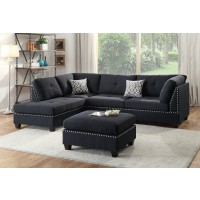 Black Linen Reversible Chaise Sectional with Ottoman