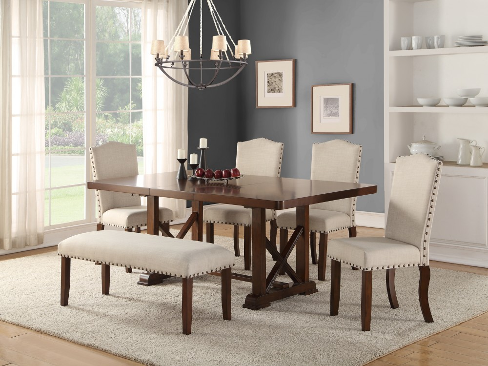 Brown Cherry Wood 6 Piece Dining Set with Cream Chairs