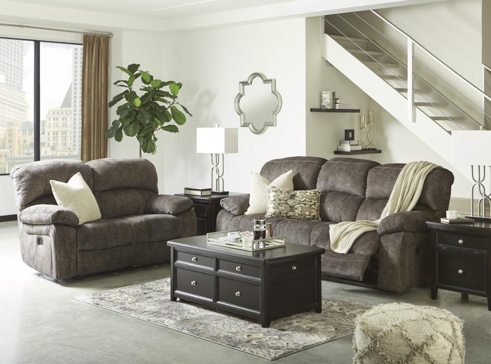 Cannelton - Tri-tone Gray Reclining Power Sofa & Loveseat