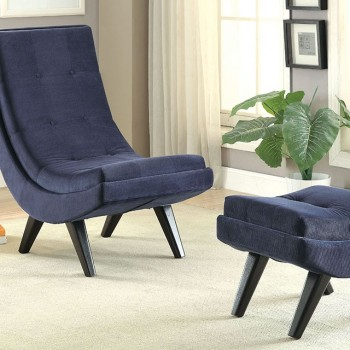 Esmeralda - Chair w/ Ottoman, Navy