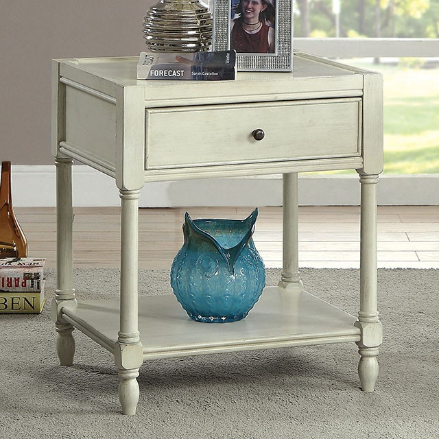 Ciara Side Table Antique White Cm Ac162wh Chair Side Tables