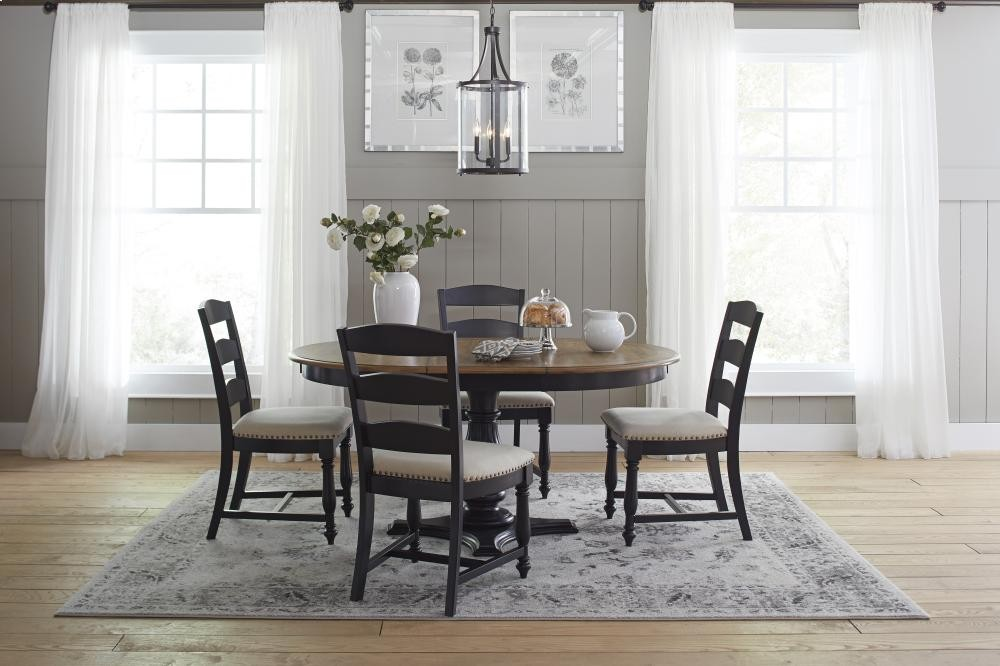 Castle Hill Round To Oval Dining Table With Ladder Back Chairs - Oval dining table for 4