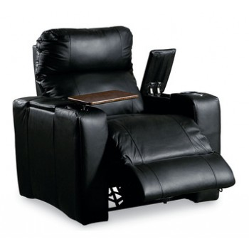 Lane Leather/ Leather Match Recliner with Storage Arms and Serving Tray