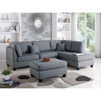 Grey Textured Linen Sectional With Ottoman