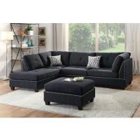Black Linen Sectional W/ Nailhead Trim